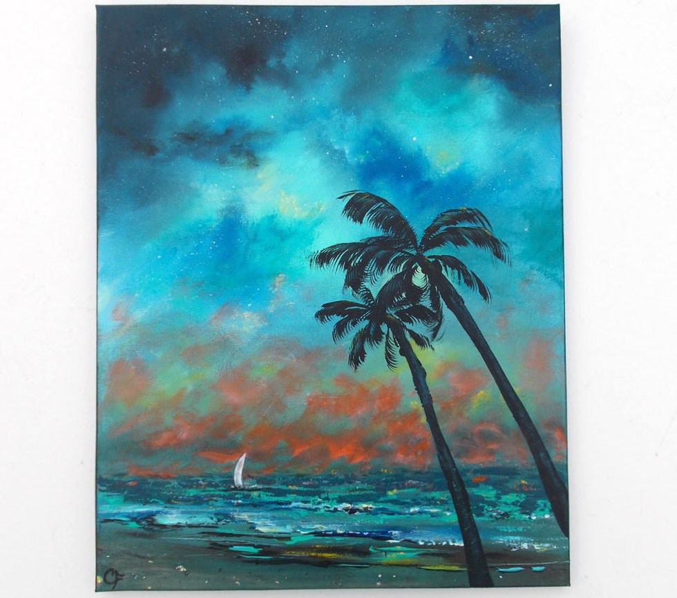 Tropical ocean painting Night sky with palm trees and