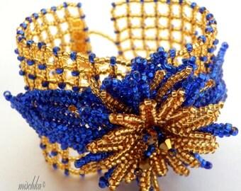Blue and Gold Beadwoven Flower Bracelet