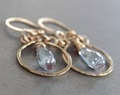 Rose gold tone bronze hoop earrings with light amethyst color Cubic Zirconia drops