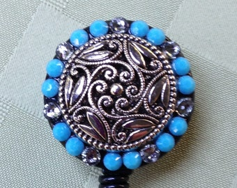 Girlie Swirl Turquoise Evening - Decorated ID Badge Retractable Lanyard Reel
