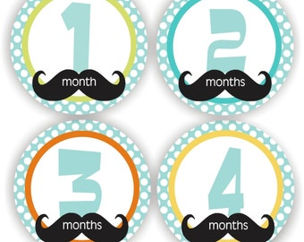 Baby Stickers - Baby Month Stickers - Baby Boy Monthly Stickers - Baby Shower Gift - Mustache Baby Month Stickers