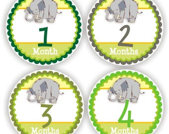 Baby Stickers - Baby Month Stickers - Baby Boy Monthly Stickers - Baby Shower Gift - Elephant Baby Month Stickers