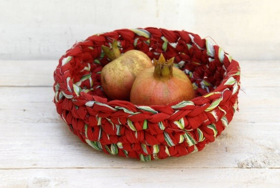 Upcycled Red Bowl --- eco friendly --- Red and Green Fabric Crochet Bowl