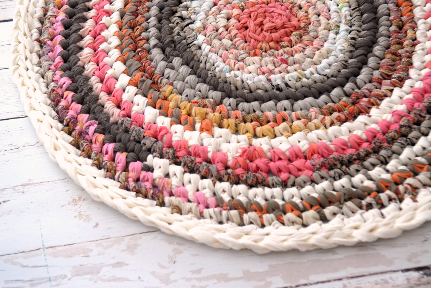 Crochet Round Rug : Rosy Brown Round Crochet Rug Soft Fabric Rug Eco by OdPaAm