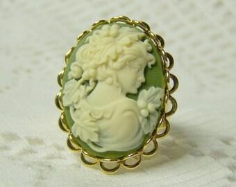 Greek Goddess Cameo Ring - Goddess of Wine - Harvest - Demeter -Pantone green - gold scalloped ring - wine tasting - Goddess Demeter