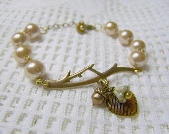 Branch Bracelet - Champagne Pearls - Copper - Woodland Wedding - Bridesmaids gift