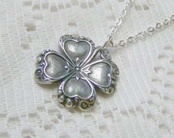 Silver CLOVER Necklace, Irish jewelry, four leaf clover, LUCKY SHAMROCK pendant, Silver
