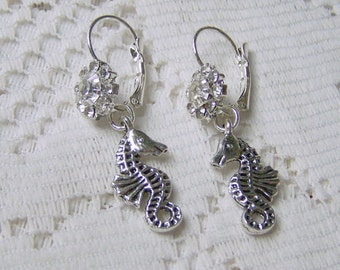 Seahorse and Crystals Earrings - Destination Beach Wedding - Silver