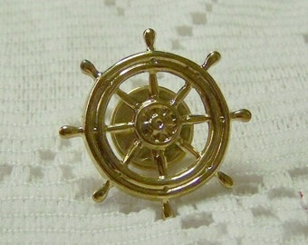 SHIPS WHEEL Lapel Pin - Tie Tack - Steampunk - Gold - Tie Tac - Gold Ships Helm - Nautical Ships's wheel