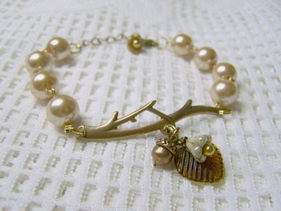 Branch Bracelet - Champagne Pearls - Copper - Woodland Wedding - Bridesmaids gift