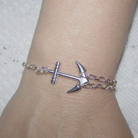 ANCHOR Bracelet - Silver - Large Dimensional Sideways Anchor - Double Chain - Sorority jewelry - Symbol of Hope - nautical anchor - sailor