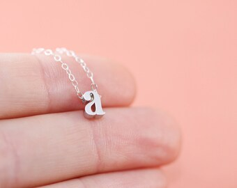 Silver Initial Necklace | Lowercase Letter Charm Necklace | Personalized Jewelry