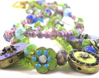 Victorian inspired enameled floral choker style necklace in purples, lavenders, lime green - OOAK, feminine, spring colors, garden party