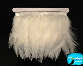 Rooster Trim, 1 Yard - WHITE Rooster Neck Hackle Feather Trim : 3189