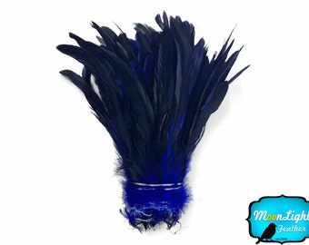 Hair Feathers, 1/2 Yard - NAVY Half Bronze Coque Tail Strung Wholesale feathers (bulk) : 3398