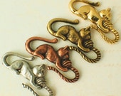 1 Cat S-Hook Clasp YOU PICK Antique Copper, Antique Gold, Antique Silver or Gold Plated - With 2 Matching Jump Rings - 100% Guarantee
