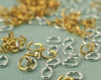 100 Gold or Silver Plated Brass OVAL Jump Rings 24 gauge 3.5mm X 2.5mm OD - Teeny Tiny - Best Commercially Made - 100% Guarantee