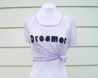 Dreamer Lace T-Shirt in Pale Lilac - Pastel Lace Top. Lavender Top. Leather and Lace Top. One Size.