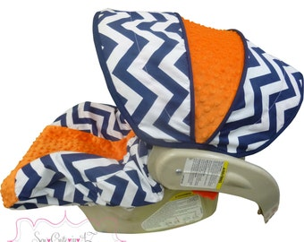 Infant Carseat Cover Navy Chevron with Orange