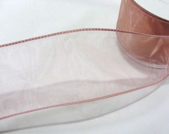 Wire Edge Ribbon Sheer mauve 2.5 inches wide