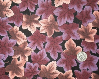 Leaves of plum and brown on black 1 yard