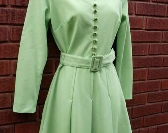 Vintage 70s Bright Green soft pleat  Garden Party Toni Todd RHINESTONE dress size small