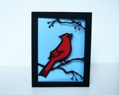 Winter HOLIDAY Greeting Card CARDINAL Christmas Bird Cut Paper Red & Blue - arwendesigns