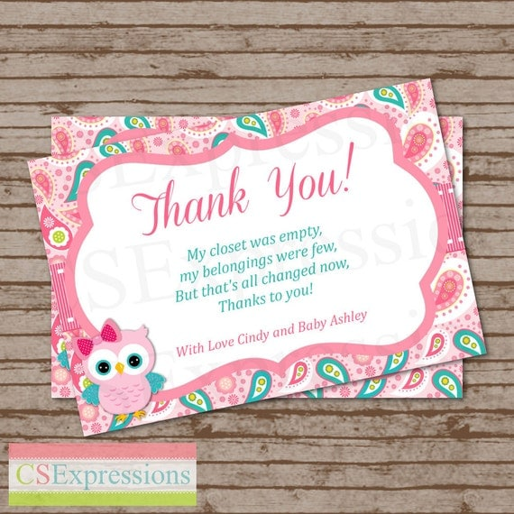 Pink Paisley Owl Baby Shower Thank You Card