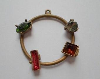 Vintage Oxidized Brass And Multi Color Rhinestone Geometric Art Deco Pendant Finding - Beautiful And Unusual