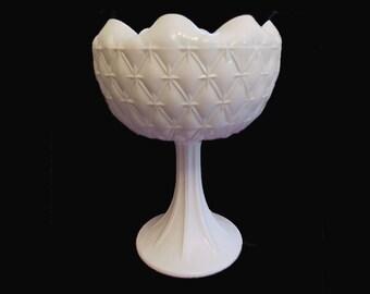Vintage White Milk  Glass Bowl Planters  on Pedstal  Quilt Design