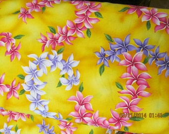 Quilting Fabric Golden Yellow with Pink and Lavender Leis   LAST YARD from Marianne of Mauil