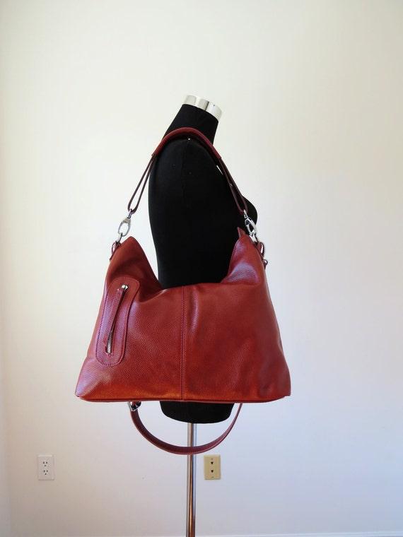 Leather purse MAX in burgundy / leather handbag/ leather shoulder bag