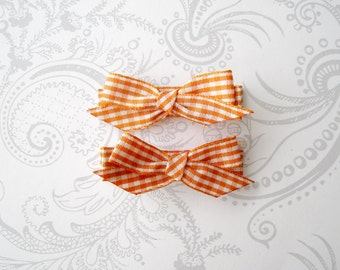 Hair Bow Clips -- Orange Gingham -- Autumn -- Pumpkin Patch