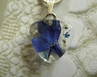 Love Is Blue-Royal Blue Lobelia and Queen Anne's Lace Pressed Flower Glass Triangle Pendant-Symbolizes Loyalty & Peace-Gifts Under 25