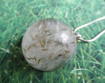 Dandelion Seed Half Sphere Domed Resin Pendant-Ride The Wind-Symbolizes Happiness, Faithfulness-Gifts Under 30-Nature's Wearable Art