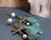 Verdigris Leaf Earrings, Dragonfly Earrings in Brass, Pearl Earrings Dragonfly Leaf Verdigris - MEADOWS