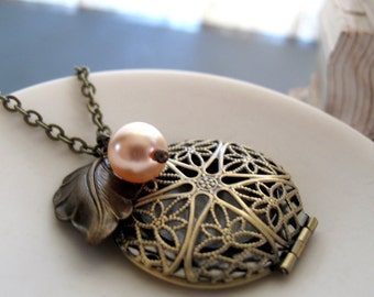 Gold Filigree Locket, Antique Brass Locket Necklace, Vintage Long Locket, Leaf Charm and Pearl - PEACHBERRY