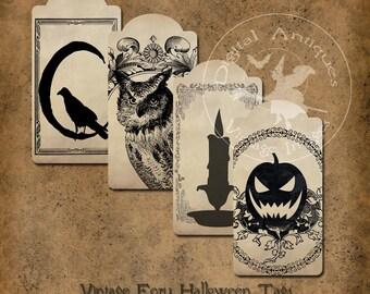 Vintage Ecru Halloween Tags Printable Instant Digital Download