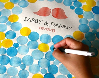 Watercolor Wedding Guest Book Signature Pattern - Guest book alternative wedding penny tiles
