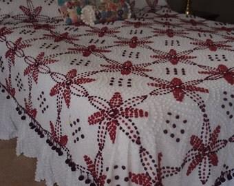 """SUMMER SALE Vintage Chenille Bedspread older hand-tufted white with dark burgundy, raspberry red & white popcorn.  88"""" x 104"""" #800-101"""