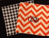 Monogrammed square pillow cover Oklahoma State chevron