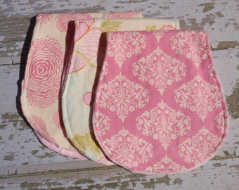 The Couture Mama Contoured Burp cloth Set  of Three in Amy Butler Fabric