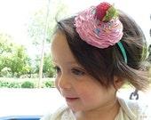 SWEET LIKE CUPCAKE Birthday Headband  ,Birthday Hat, Cupcake Hat , Cupcake Headband ,first birthday party hat ,cupcake costume pink icing