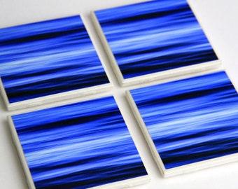 Decorative Tile Coasters, Beach Decor, Bright Blue Water, Ocean, Ceramic, 4X4, Set of 4, Fine Art Photography