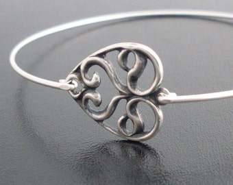 Swirly Heart Bracelet, Silver Tone, Heart Jewelry, Art Nouveau Jewelry, Valentines Day Gift for Her, Heart Bangle