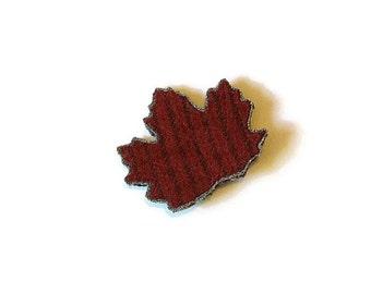 Wool brooch/ leaf  maple red gray stripe wool