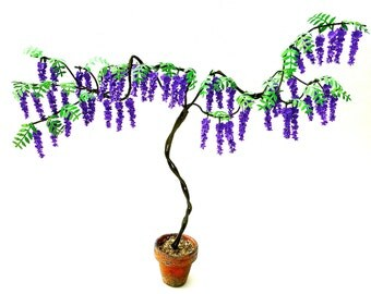 Dolls House  Flower Kit PURPLE WISTERIA TREE for dollhouse garden, miniature flower, scrapbooks