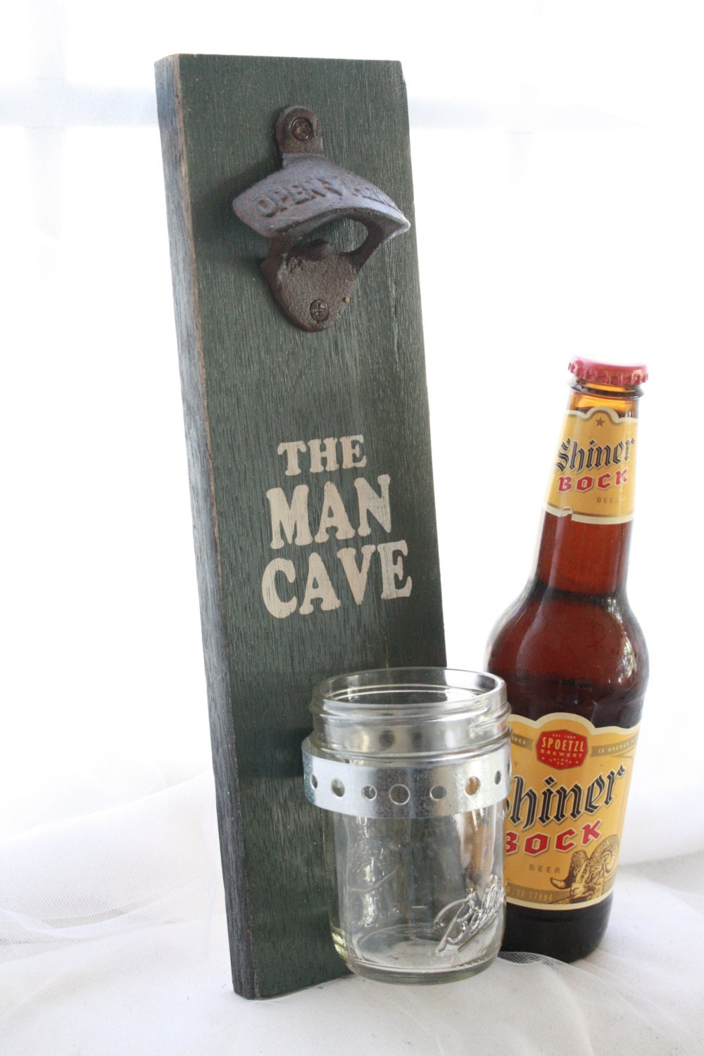 The Man Cave Wall Mount Bottle Opener With Mason Jar By