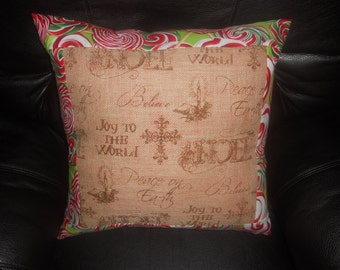 """SALE - Christmas  Burlap (Four) --20""""  Throw Pillow COVER ONLY"""