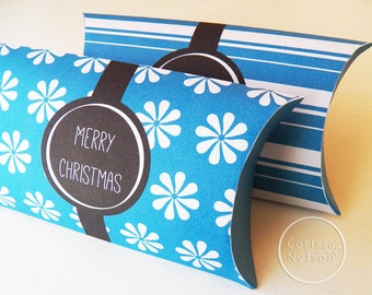 Blue Christmas Candy Gift Box - Printable Instant Download - Gift Tag